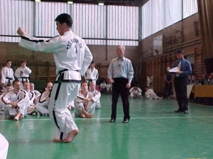 Master Rhee is corrected by General Choi while his father, FGMR, watches in the background